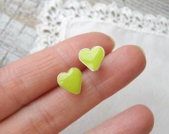 Tiny Stud earrings, Lime Green Heart earrings, Heart jewelry, Hypoallergenic posts, Summer jewelry, Simple earrings, Minimalist earrings