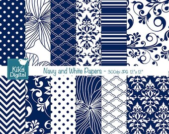Navy Digital Papers, Navy and White Scrapbook Papers - card design, invitations, background - INSTANT DOWNLOAD