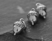 Detailed small solid sterling silver acorn charm