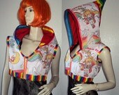 Rainbow Brite Hoodie Jacket - One of a Kind - Ready to Ship Now - S/M - Womens Pixie Hood Shrug Vest Jacket - Rave Raver Cyber Hippie