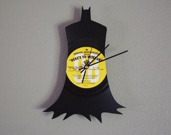 Batman Clock | Vinyl Record • Upcycled Recycled Repurposed • Super Hero • Handmade • Shadow Art Decor • Portrait • Silhouette