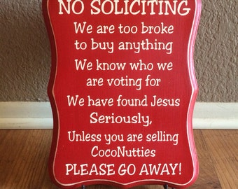 No Soliciting Sign | Funny No Soliciting Sign | No Soliciting Wood Sign | Girl Scout Cookies | CocoNutties