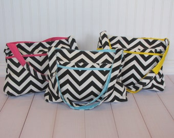Sale--Cutest Chevron Diaper Bags in Blue, Yellow, and Hot Pink, Great Baby Gift