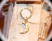 Moon Cartilage Earrings, 14k Gold Filled Hoop, Moon Nose Ring, Ear Cuff, Helix Hoop, Nose Rings, 22 20 18 16 gauge Hoop, Piercing Jewelry