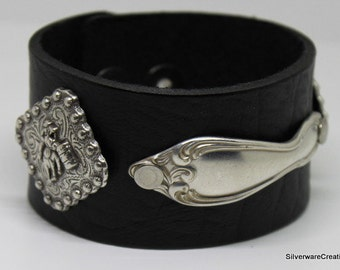 Spoon Bracelet w/ LEATHER Silverware Jewelry Spoon Handle OLD SOUTH 1949 With Horse Barrel Racing Conchos Boho Chic
