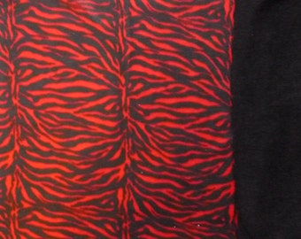 """Small Child Size Red Zebra Print with Black back no sew fleece blanket(36"""" x 60"""")Double Sided Hand Tied Blankets- Red and Black Animal Print"""