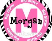 Big Sister Zebra print design   personalized - digital image