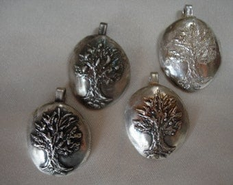 Tree of Life Curved Sterling Silver Pendant