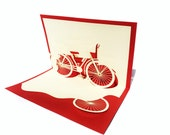 Bicycle Origami Kirigami Popup Greeting Card - Red Pop-Up Paper Art Sculpture - Birthday 3D