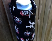 Water Bottle Carrier/Sling with (ADJUSTABLE) Cross Body Strap - Pirate Fabric, Insulated