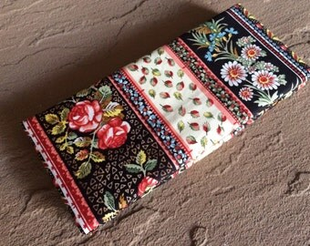 Magic Wallet - Billfold: Floral and Paisley on Black Print