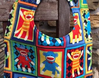 NEWBORN / INFANT BIB: Sock Monkey Blocks, Personalization Available