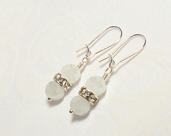 White Nebula Glass Bead With Swarovski Crystal Rondell Wedding Party Dangle Earring