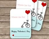 "Printable Classroom Valentine's Cards - 2.5""x3.5""- I Wheelie Like You"