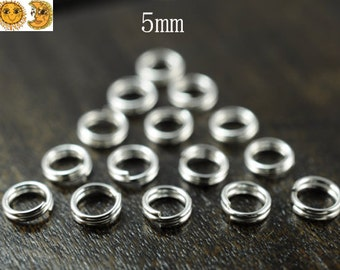 30 pcs 925 Sterling Silver Double Loops Split Jump Rings Open Jump Rings 5mm---24 Gauge
