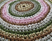 "Villa Rustica Rug 40"" Crochet Rag Area Rug Round Floor Washable Soft Handmade Kitchen Porch Country Primitive Homespun Brown Tan Large"