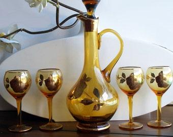 Beautiful Vintage Amber Wine Decanter Set - Gold Rose Design