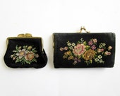 2 vintage french coin purses - Embroidery - floral tapestry- 1940