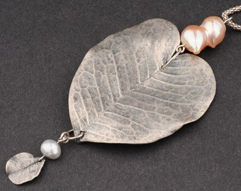 Pendant Necklce,Natural Leaf, Electroforming,Heart Shaped,Charm of Pearl and a Leaf,Extra Long Silver Chain,Rustic,Romantic, Valentine