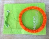 Orange Crocheted Bead Bracelet,Czech Seed Beads,Nepal, SB2