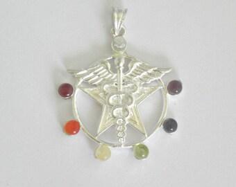 7 Chakra stone set caduceus pendant