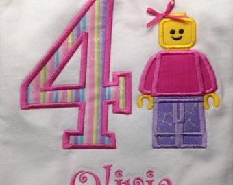 Girl Lego Birthday Shirt