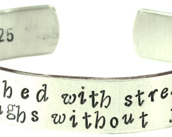 She is clothed with strength and dignity, and she laughs without fear of the future - Hand stamped bracelet- Proverbs 31:25