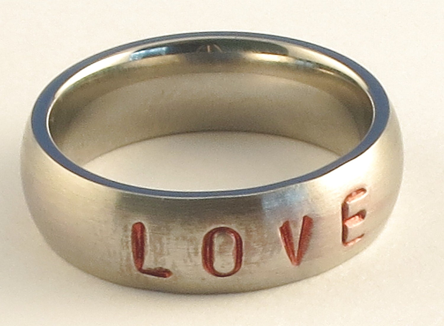 LOVE - Stainless Steel Low Dome Name Ring 5mm Ring Sizes 3-14