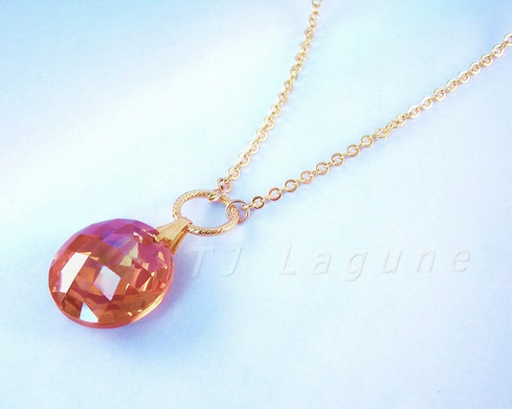 Long Necklace with Pendant, Topaz Cubic Zirconia, Gold Chain