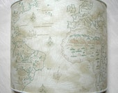 Wall Light Half Lampshade in Old World Map Parchment Wall Lamp - Handmade in Italy