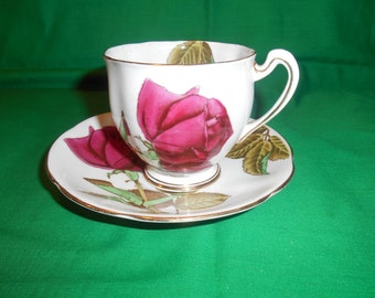 One (1), Bone China, Footed Tea Cup & Saucer, from Royal Standard, in the English Rose Pattern.