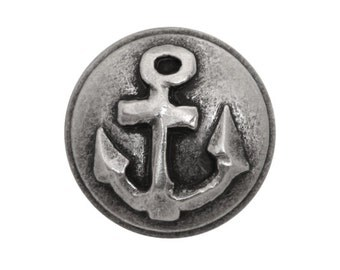 6 Anchor 5/8 inch ( 15 mm ) Metal Buttons Silver Color