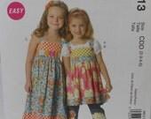 McCalls M6313, Girls Childs Dress, Top, Belt, Uncut