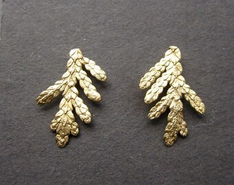 14k gold Cedar branch stud earrings solid gold handmade in USA