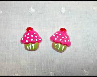 "Cupcake .75"" tall flat back resin birthday cupcake bow center set of 4"