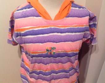 Ellesse Italy Orange, Purple and Pink T-Shirt with Orange Hood