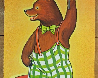 Vintage School Poster Bear with Flags Up and Down