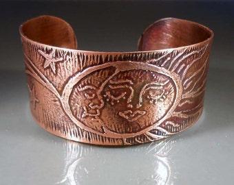 "READY to SHIP Sol Y Luna - Sun & Moon Hand Etched Boho Copper Cuff Bracelet Size 6.5"" - 7"""