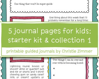 5 Printable Guided Journal Pages for Kids (Grades 4-6) - Starter Kit and Collection 1
