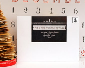 Custom Christmas Wraparound Address Labels-Over the Top Chalky- Holiday, Trees, White, Black, Cute, Modern, Personalized, Seasonal, mailing