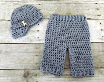 Baby Boy Gift, crochet baby hat, baby pants, baby boy hat, denim blue cotton hat and pants