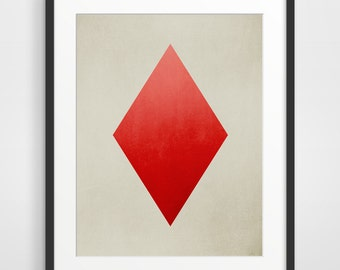 Minimal Art Print Ace of Diamonds, Minimalist Poster, Modern Art, Geometric Art Print, Industrial Decor, Card Suit