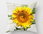 Yellow Sunflower with bee photo pillow cover