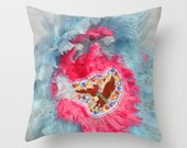 Mardi Gras Indians with pink and blue feathers photo pillow cover
