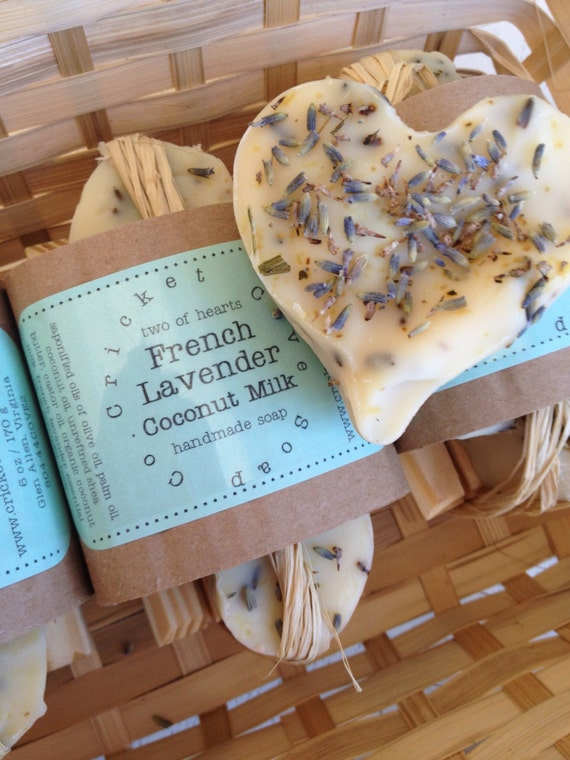 HEART SOAP - Valentine's Day - Mother's Day -  Soap Set - Two Hearts of French Lavender  Soap Wooden Draining Soap Dish - Cold Process