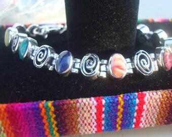 Silver .925 bracelet mounted with semi precious stones