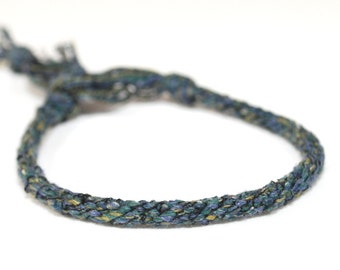 Kumihimo Silk Wrapped Bracelet Fiber Navy Blue Silk Jewelry
