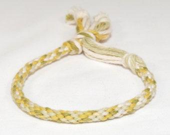Childrens Bracelet Kumihimo Baby Boy Toddler Cotton Fibre Green Tones Kids Jewelry