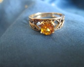 10K Gold and Citrine Ring With Open Heart Design, Size 5