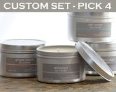 Soy Candle Set - Create your own (pick 4) - 8 oz. tins - scented soy candles - fresh scent candle - summer scent candle